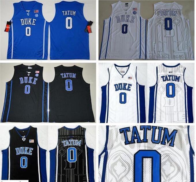 Erkekler 0 Jayson Tatum Kolej Forması Siyah Mavi Beyaz Duke Şeytanlar Basketbol Formaları Renk Dikişli Spor Nefes Mükemmel Kalite Atletik
