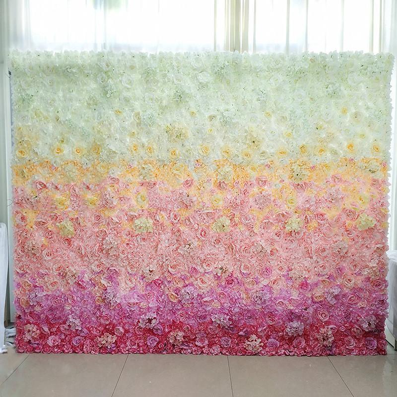 6pcs degradado degradado de seda articificial flor de flores de flor de flores de decoración para boda baby shower fotografía fotografía telón de fondo