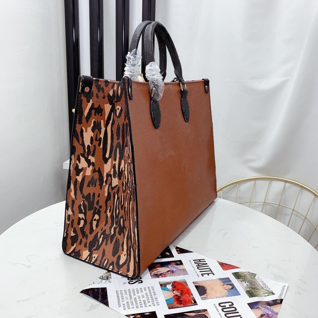 Bolsa de alta qualidade Bolsa Ao Ar Livre Grande Capacidade Moda Das Homens Totes Sacos Classic Letras Leopard Imprimir Design Top Lady Bag com Número da Série Data