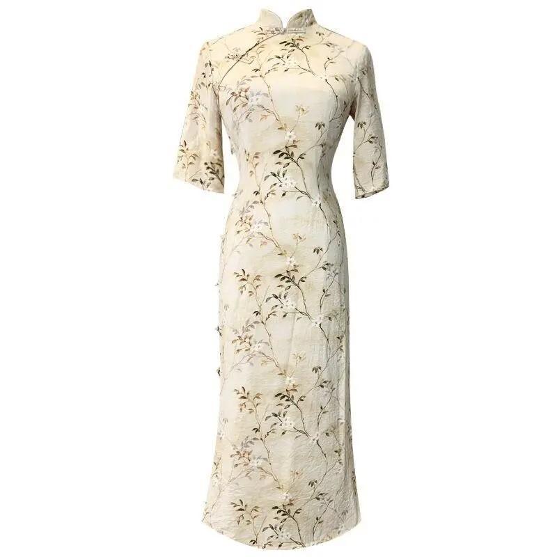 Elegant Women Flower Cheongsam Summer Short Sleeve Party Dress Slim Sexy Vintage Qipao Vestidos Noble Ladies Evening Gown Ethnic Clothing