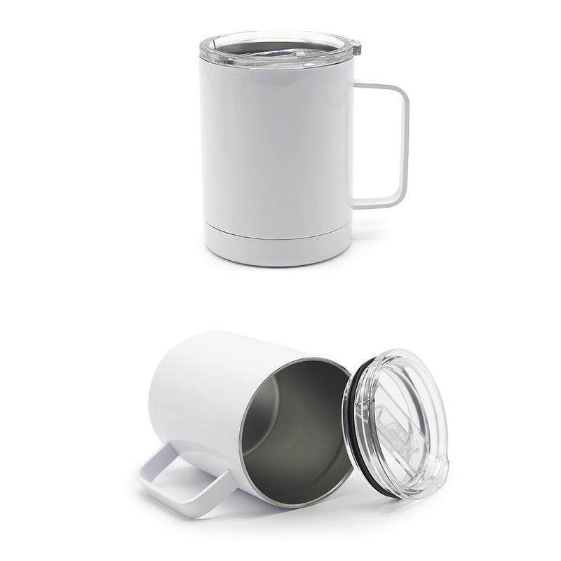 12Oz Sublimation weiße Farbe Kaffeetasse Autokasse Kaffee / Tee Icewatercup Büro Doppel Wand Insualted Vakuumeisgetränk Tumbler mit Griff