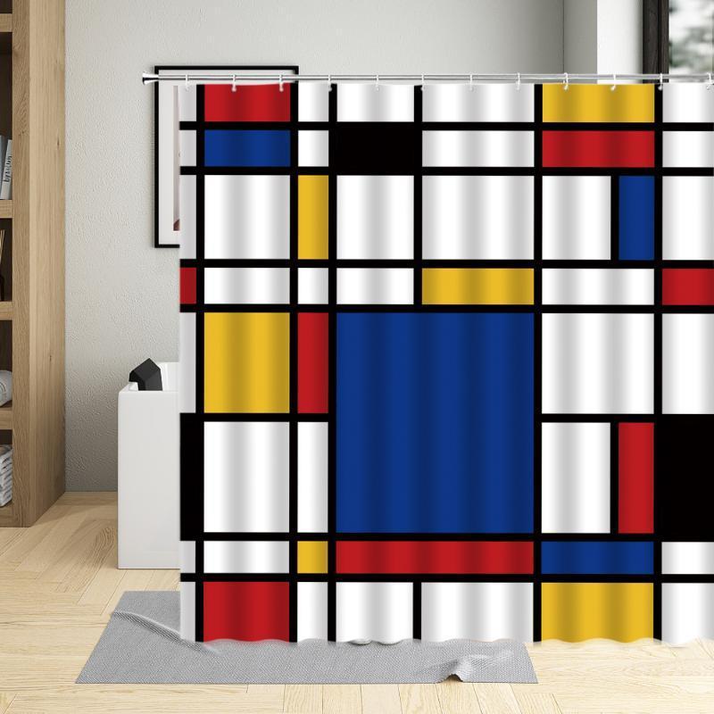 Duschvorhänge Farbe Cube Gitter Wandvorhang Wasserdichte Polyestergewebe Hohe Qualität Badewanne Dekor Badewanne mit Haken 3D-Druck