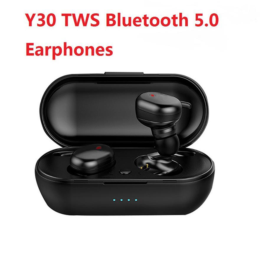 Y30 Headset Sem Fio Esportes Botão Mini Bluetooth Earbuds 5.0 Toque Fone de Ouvido com Microfone