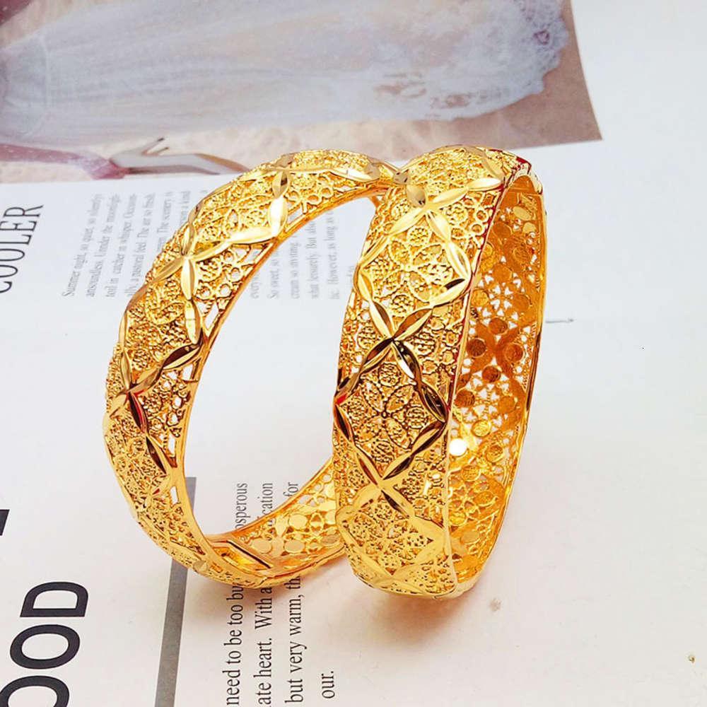 Imitation Vietnam Shajin clover Bracelet women's hollowed out carved bride's wedding decoration copper plated bracelet