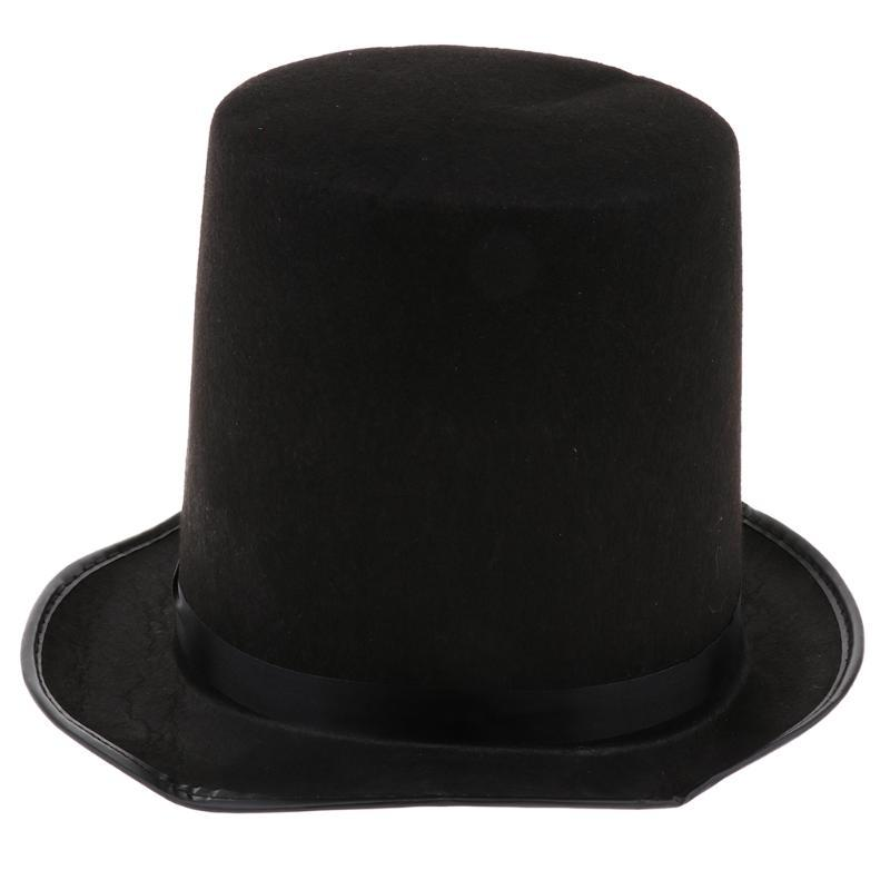 Divertente Pianura Selt Satin Hat Circus Mago Cap Costume Dressing Up Accessory Favore per uomo Donne Wide Brim Cappelli