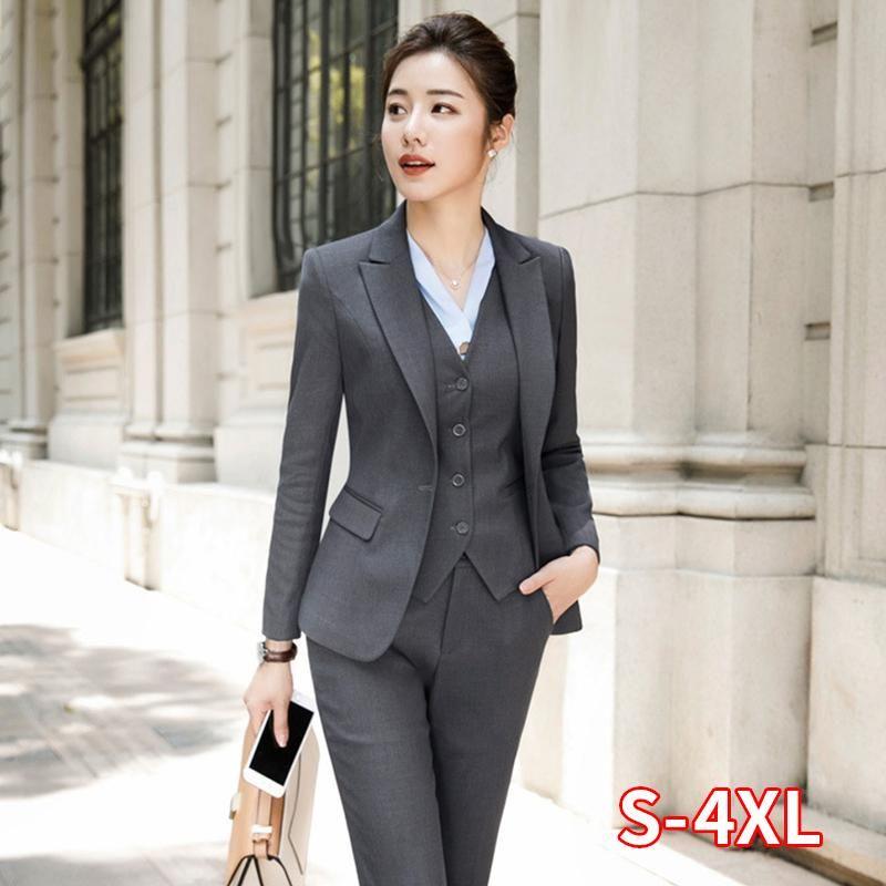 Fashion Women Suit Office Lady Work Uniform Business Formal Pant Suits Black Blazer Pants Set Casual Jacket Trousers Plus Size Women's & Bla