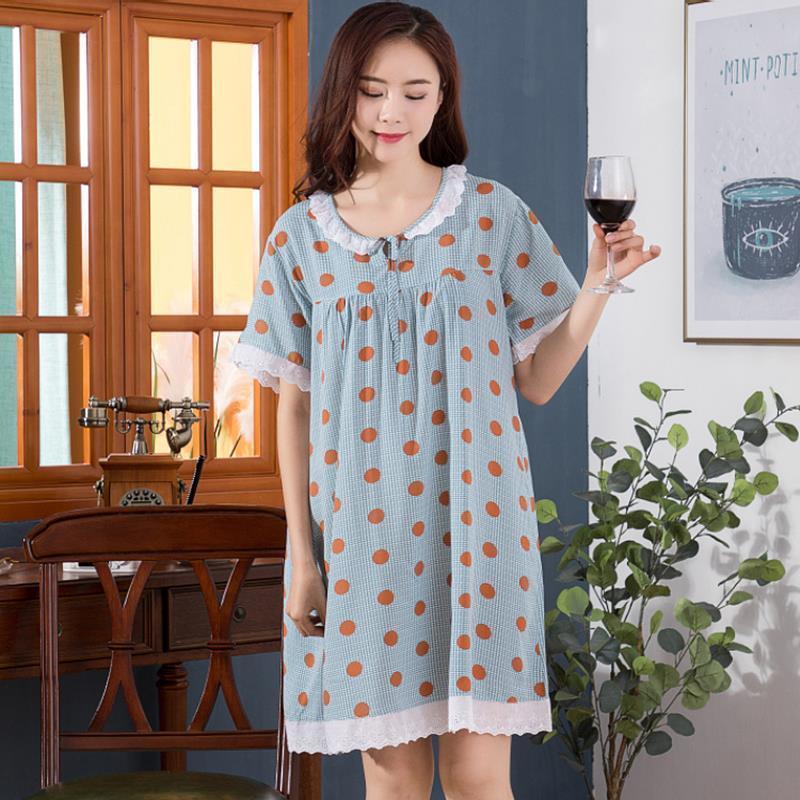 Frauen Nachtwäsche Sommer Nette Lace Nachthemden O Neck Damen Kleider Prinzessinkragen Floral Home Kleid Komfortables Nachthemd