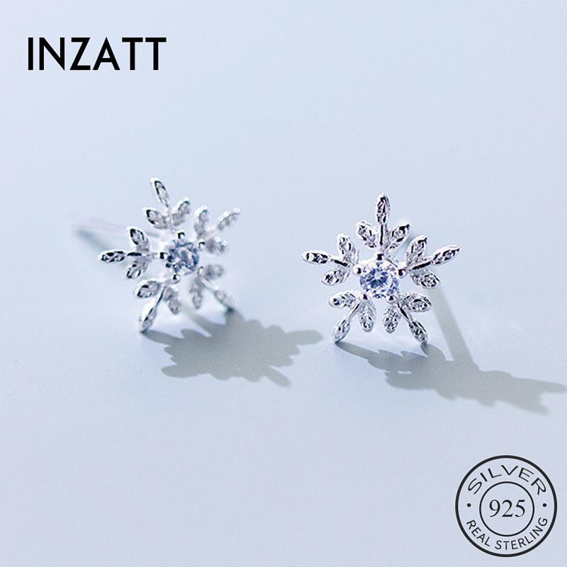Inzareal 925 Sterling Silver Zircon Snowflake Stud Pendientes para mujer Moda Linda Joyería Fina Accesorios Geométricos Regalo