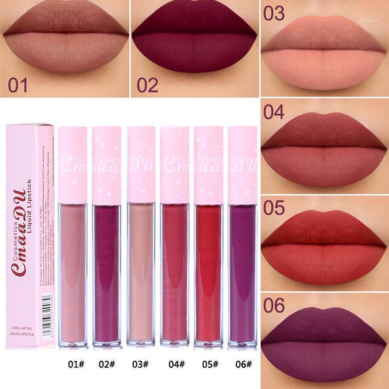 Cmaadu 6 colori naturale idratante rossetto opaco rosa tubo tubo antiaderente tazza lunga labbra lucido lucido di alta qualità Tslm21