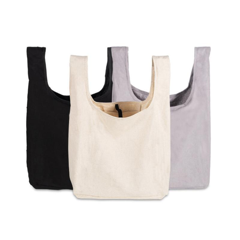 Storage Bags Canvas Cotton Simple Shopping Girls Fashion Solid Color Life Casual Pacakge Hand Bag Foldable Handbag Large Capacity Tote
