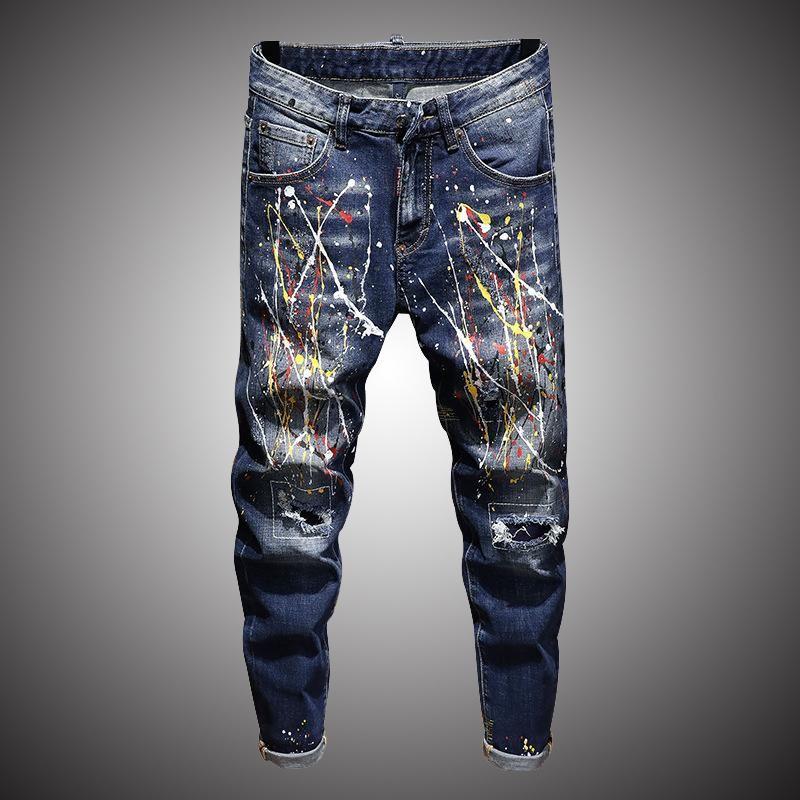 Uomo Skinny Jeans Pantaloni Splash Inchiostro Stampa Denim Pant 2021 Fashion Casual Paint Pantaloni maschili BP024 Uomo