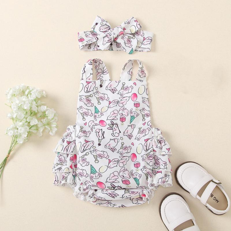 Jumpsuits Impresso Bebé Meninos Vestuário de Verão Bodysuit Sling Romper + Headbands Conjuntos Triângulo Born Infantil Kimono Playwear
