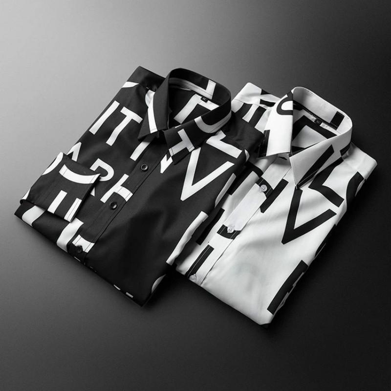 편지 인쇄 남성 유행 브랜드 셔츠 럭셔리 긴팔 100 % 코튼 공식 슬림 맞는 파티 캐주얼 셔츠에 적합