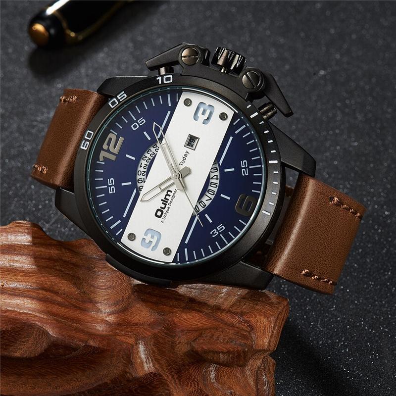 Oulm design big uhr sport männer coolen button auto datum lederband männer quarz armbanduhr luxus mann militäruhren armbanduhren