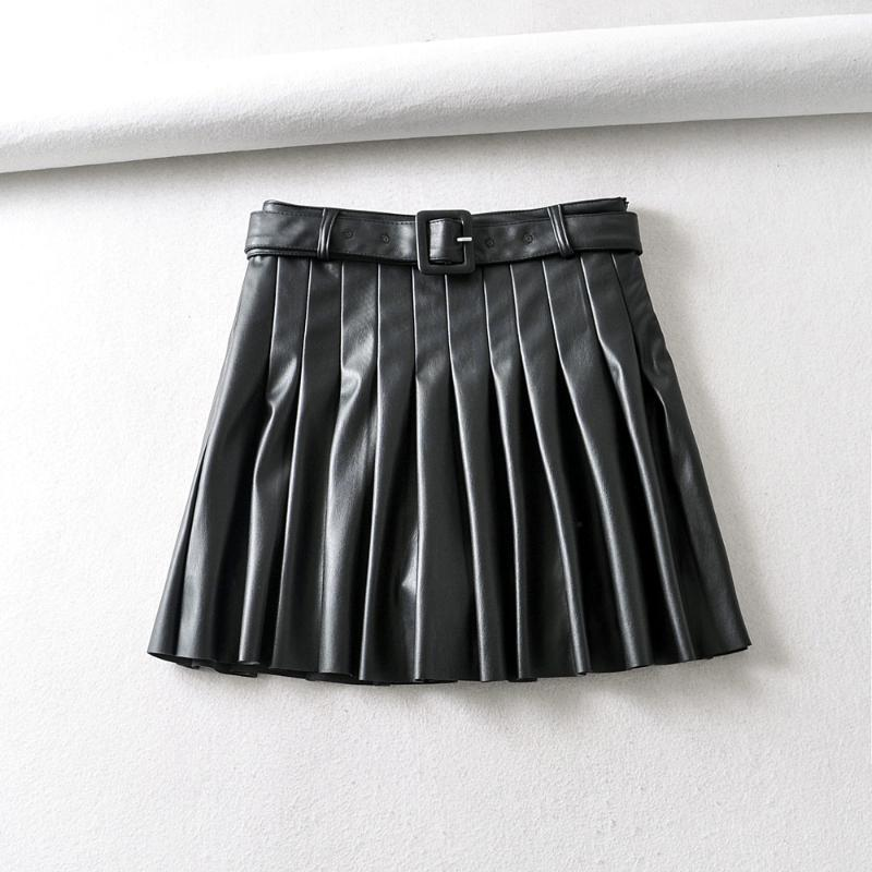 Юбки Женщины Винтаж Искусственная Юбка из искусственной кожи с поясом 2021 Элегантные Офисные Дамы Черный PU Мини мода плиссированные повседневные