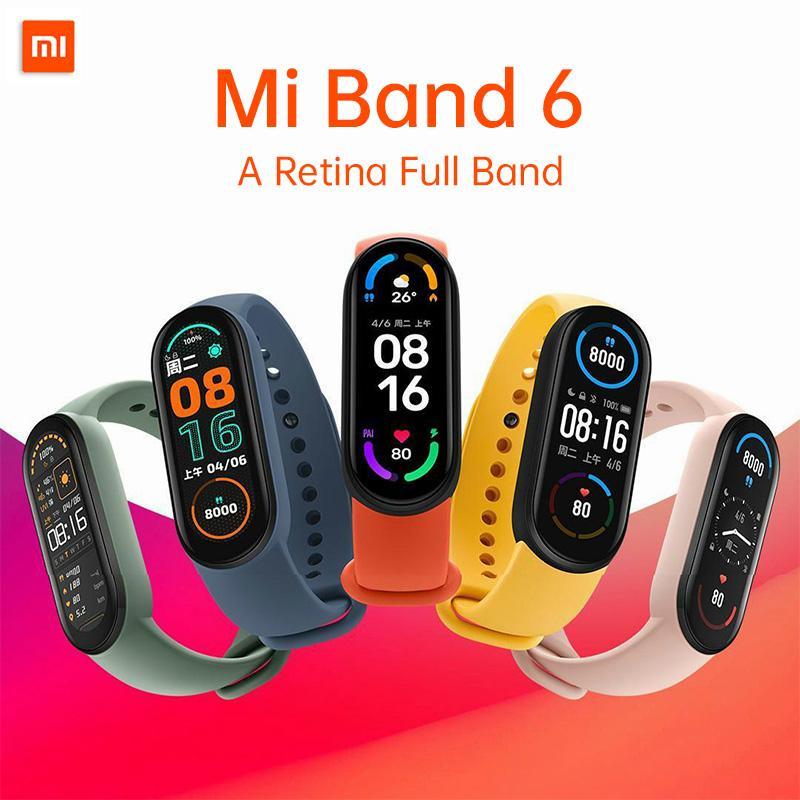 Xiaomi mi banda 6 pulseira inteligente 4 cor tela de toque miband 5 pulseira fitness fitness oxygen trilha ritmo cardíaco monitoresMartband do youpin
