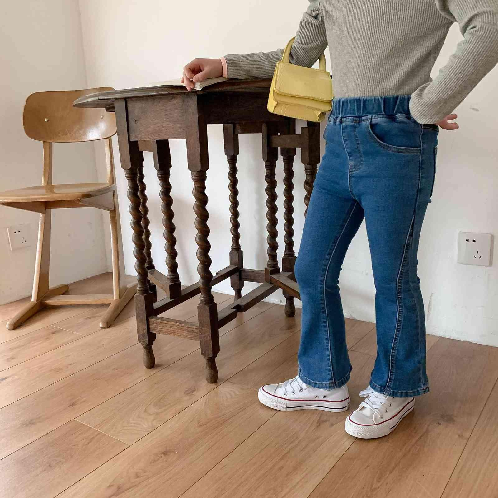 2021 Frühling Neue Kinderkleidung Mädchen Stil Intensive Hosen Baby Mode Jeans