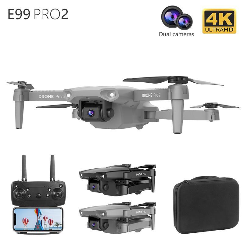 E99 Pro2 RC Mini Drone 4k Cámara Dual WiFi FPV Fotografía aérea de FPV Control remoto Volar Bolsillo Selfie Helicóptero Sin escleos Diferable Quadcopter Juguetes