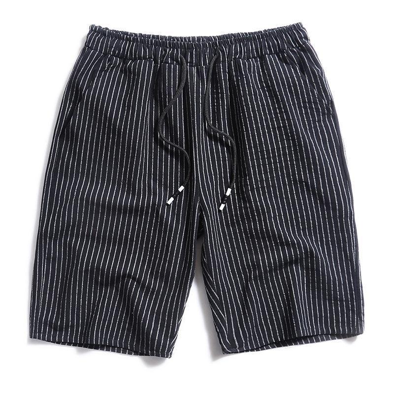 Pantalones cortos para hombres 2021 Pantalones de algodón Cinco puntos Rayado Pijama Sports Playa Tide Cintura Elástica