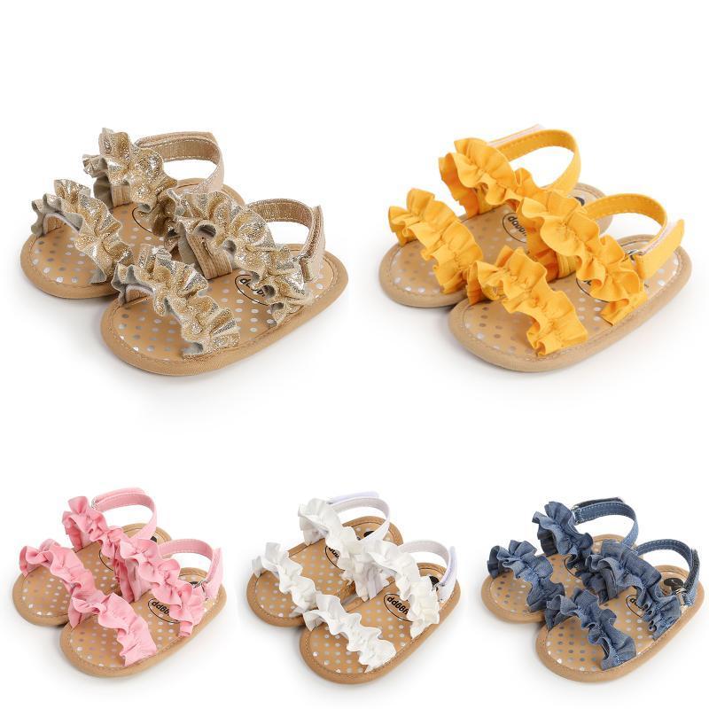 아기 소녀 여름 샌들 패션 솔리드 컬러 안티 슬립 소프트 솔 프릴 플랫 신발 머리 장식 활 유아 첫 번째 워커