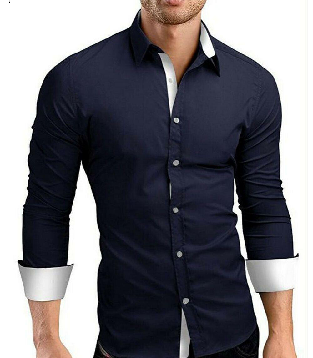 New Trendy Mens di lusso Slim fit manica lunga camicia in cotone a maniche lunghe casual pulsante business ufficio vestito camicia nero blu bianco bianco