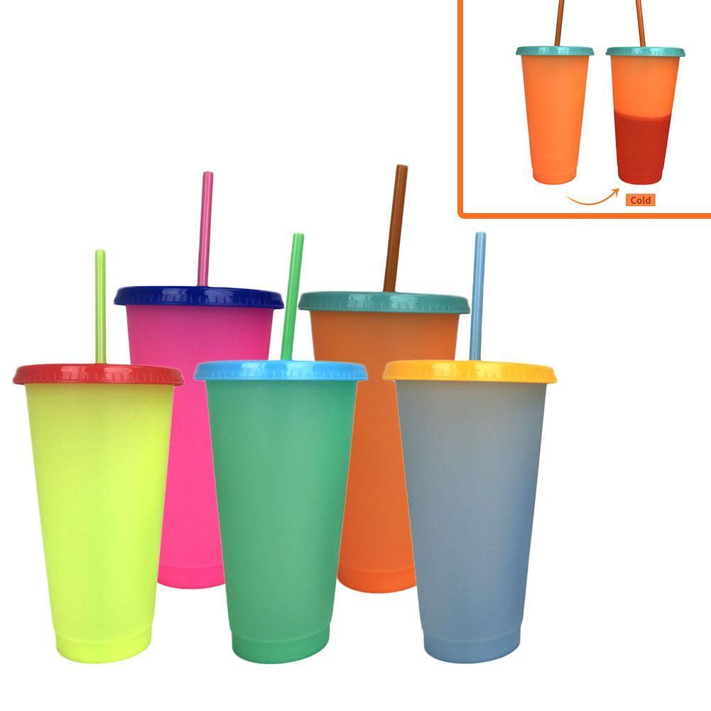 Kreative 24 Unzen Temperaturfarbe, die magische Tasse wiederverwendbare magische Kaffeetasse ändert Kunststoff trinken Tumbler mit Deckel und Stroh 700ml Tassen