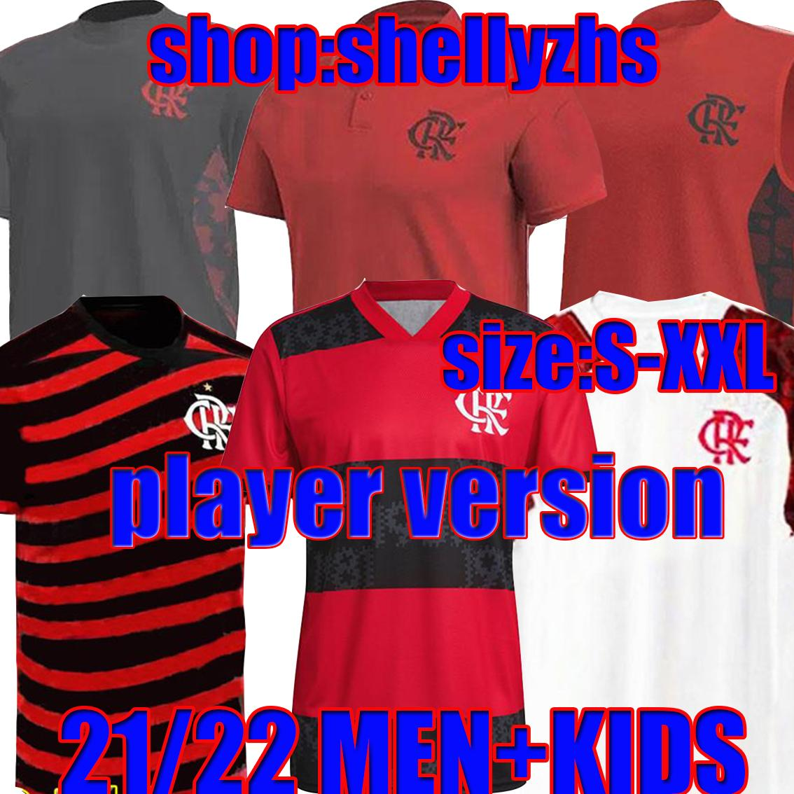 21/22 Flamengo Soccer Jersey Polo Treino Fants Player Версия 2021 Gabriel B.henrique de arraScaeta diego men kids kits Футбольные рубашки