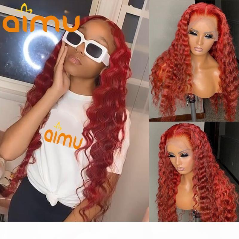 Curgy profonde 99J rouges rouges perruque perruque d'eau lâche vague prérefinée en dentelle hd gluentique perruque de cheveux brésilien pour femmes noires remy