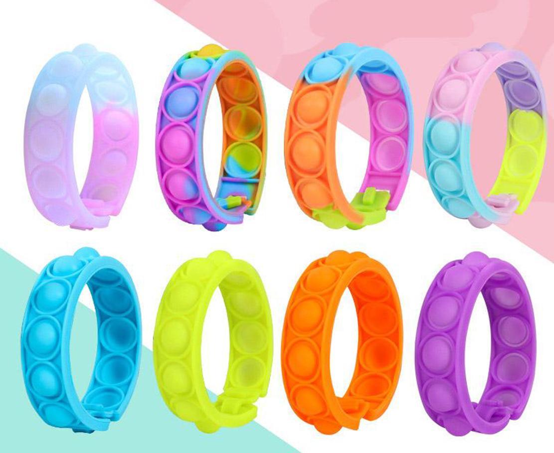 Fidget Toy Decompression Pulsera de juguete 8 Estilo Press Bubble Color fotosensible Cambio de Color Puzzle SensoryToy Para Niños Fidget Vent Vent Juguetes