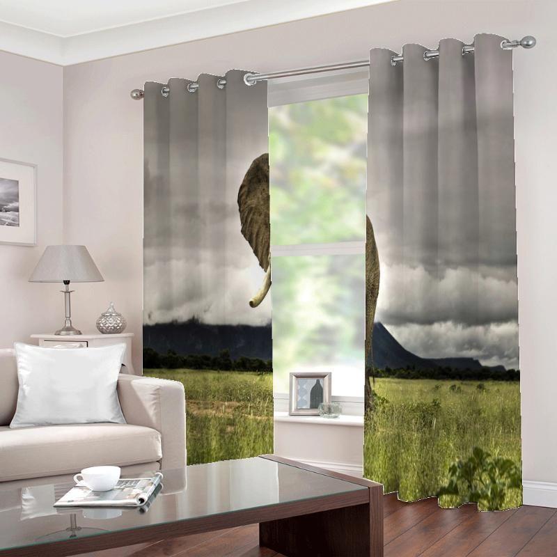 تخصيص أي حجم الأفريقي السهوب الفيلة السحب الظلام الستار نافذة ل غرفة المعيشة نوم نصف التعتيم الستائر ديكور