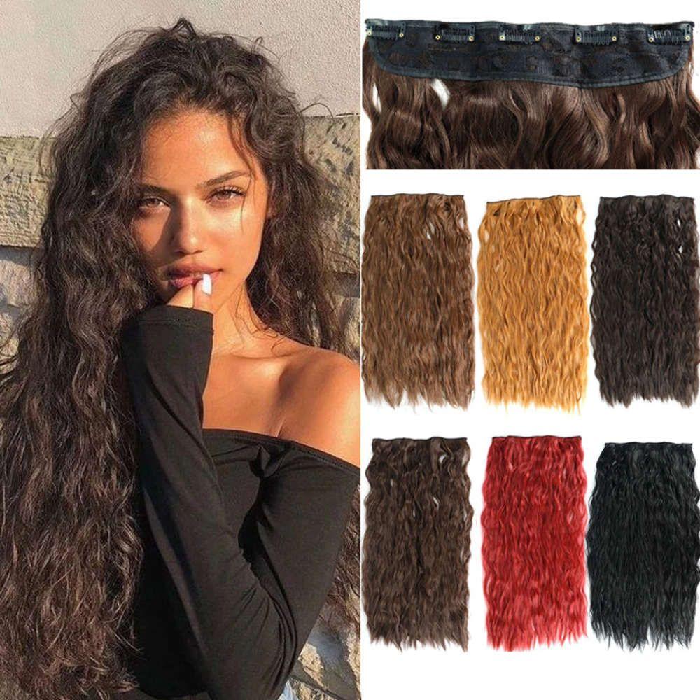 Eine stück 5 karte lange flauschige natürliche lange wellenförmige Curl Wolle Curl Vorhang Haarverlängerung