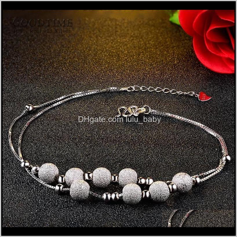 الأزياء النقي 925 فضة خلخال متجمد الذهب اللون الأبيض جولة الخرز للنساء الكاحل سوار القدم سلسلة مجوهرات F1219 2RKR 7QZ5F