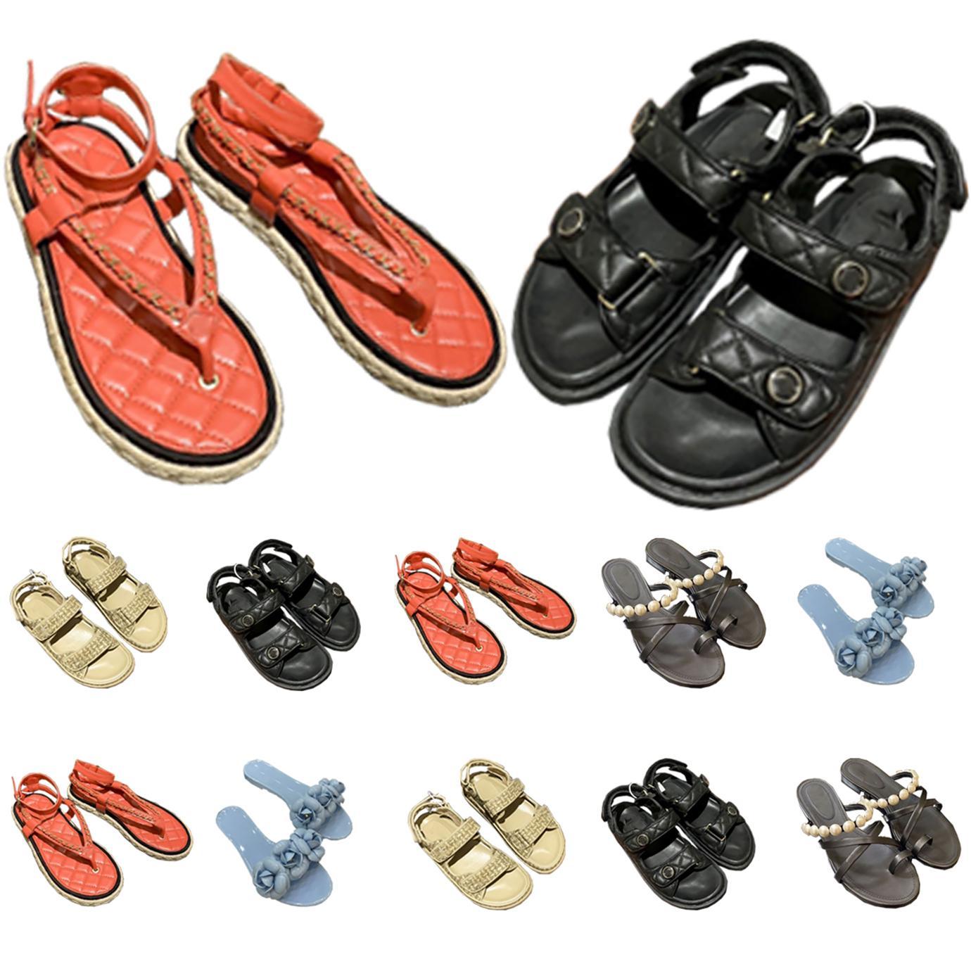 Sandálias As mulheres deslizam womens scuffs chinelo luxurys designers sapatos saltos altos saltos de couro genuíno paris verão Bombas de praia