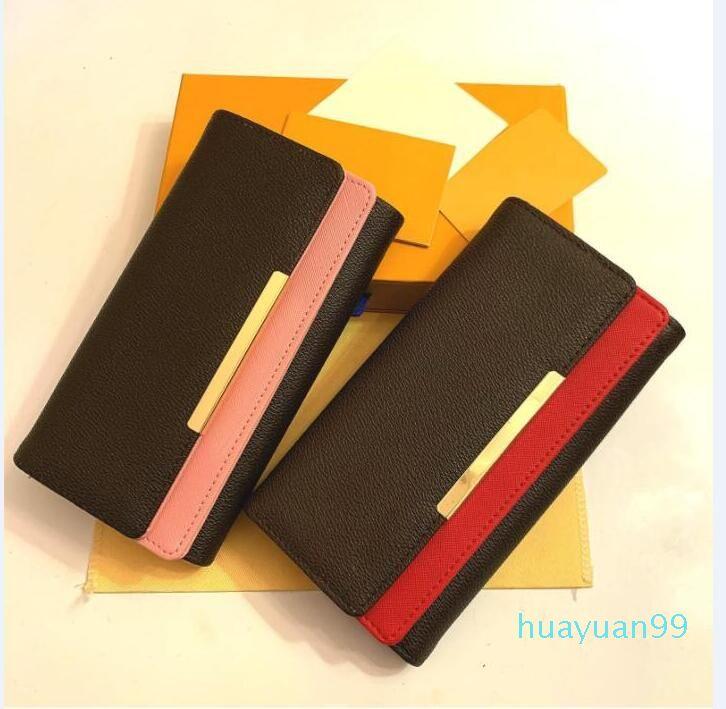 Wholesale moda roja y rosa, cremallera, cremallera, hombres, hombres, mujer, cartera de cuero, señora, señoras, bolso de tarjeta de caja naranja 60136