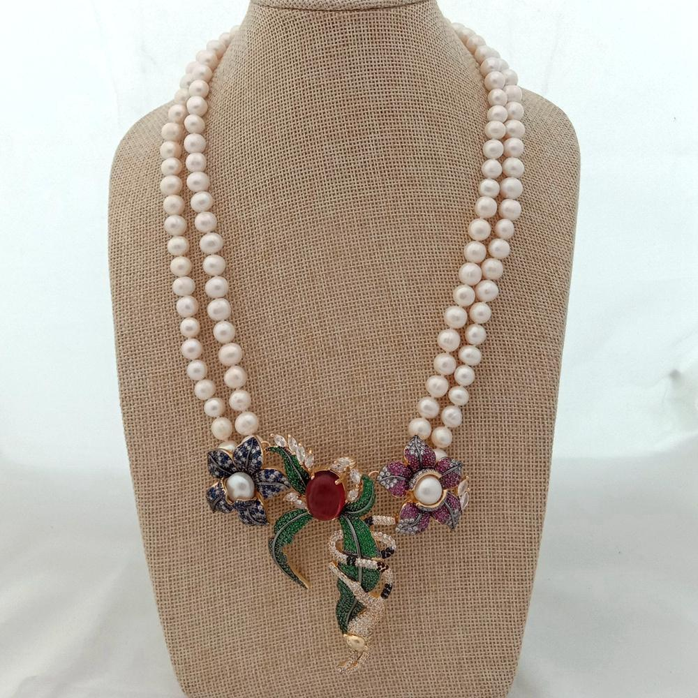 21 2 rangs blanc rond collier de perles d'eau douce CZ Pave Annimal Fleur Monkey Or Couleur Pendentif Pendentif Mariage de luxe
