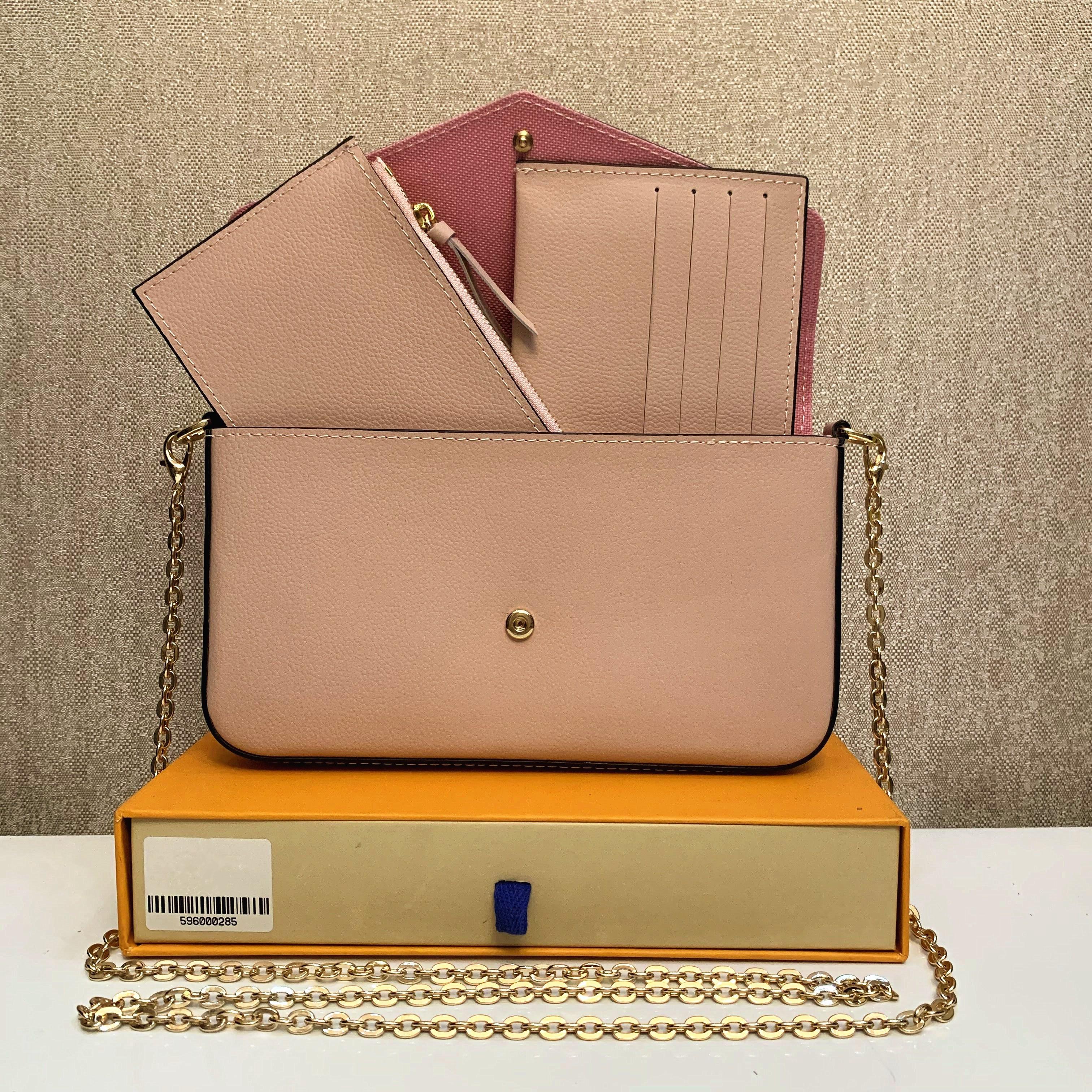 2021 Senhora Ombro 3 Piece Set Mulheres Moda Genuine Couro Bag Fábrica de Alta Qualidade Cross Bag Bolsa De Lona M61276