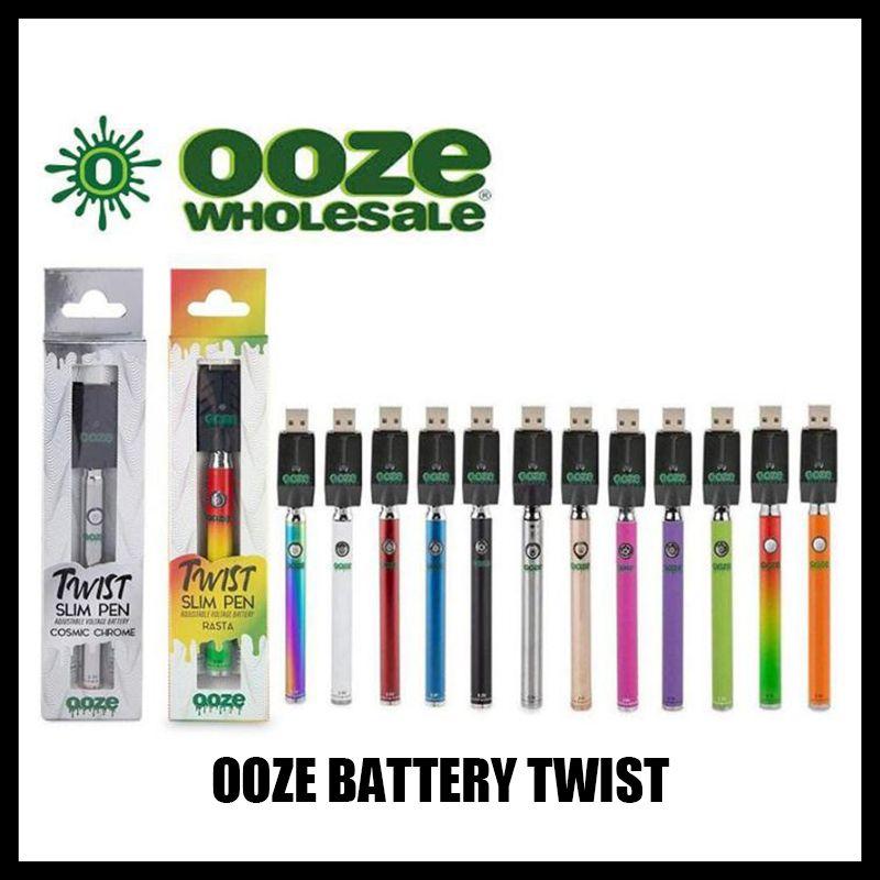 Ooze Twist Ön ısıtma 320 mAh Pil Şarj Kiti Değişken Gerilim Önceden Tomurcuk Dokunmatik Pil 510 Konu Vape Kalem Pil Kartuşu Buharlaştırıcı