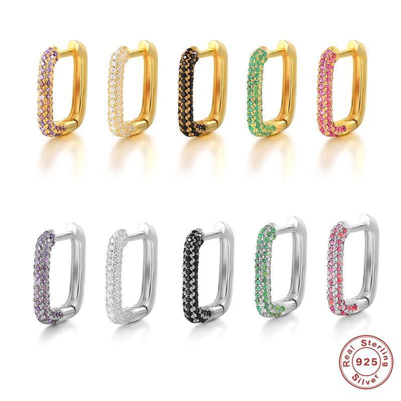 Hoop & Huggie KOJ 925 Sterling Silver Colorful Zircon Square Earring For Women Geometric Circle Huggies Ear Buckles Earrings Jewelry 1PC