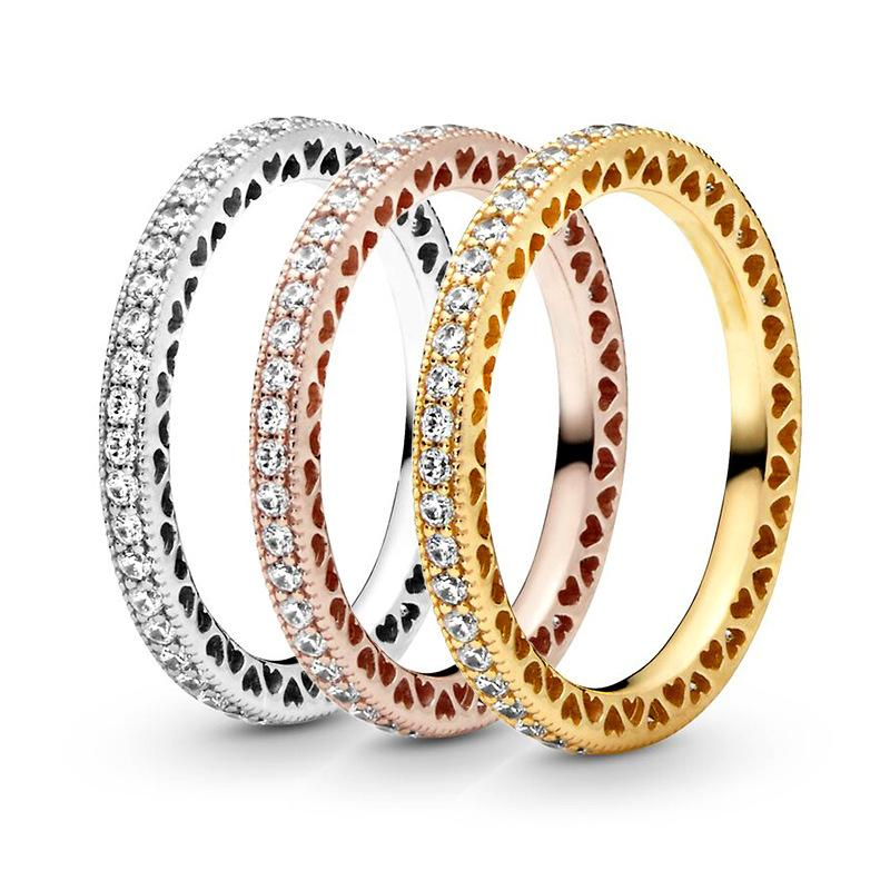 Fanshi Çapraz Sınır Sıcak Satış Ebedi Kalp Halkası Mizaç Ortak Yüzük Moda Padra Düğün için Şekilli Basit Şeftali Ring780 T2