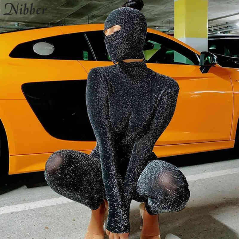 Nibber Glitter Ipek Maske Playsuits 2 Two Parça Bayanlar Için Tulumlar Seksi Backless Kulübü Parti Giymek Uzun Kollu Tek Parça Kıyafet C0402