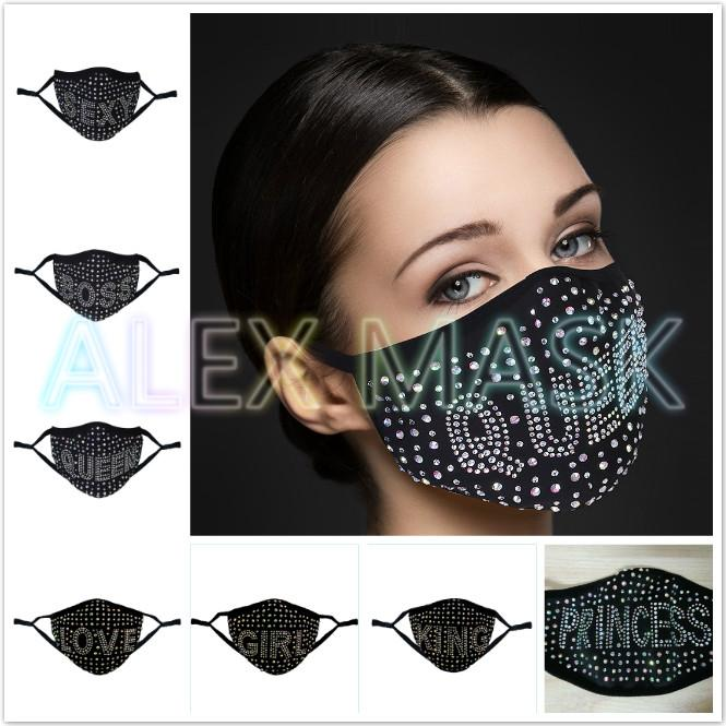 Drill mask Stylish Diamond-encrusted masks Exquisite windproof and dustproof facemask Pluggable filter cotton Washable Reusable designer face-mask