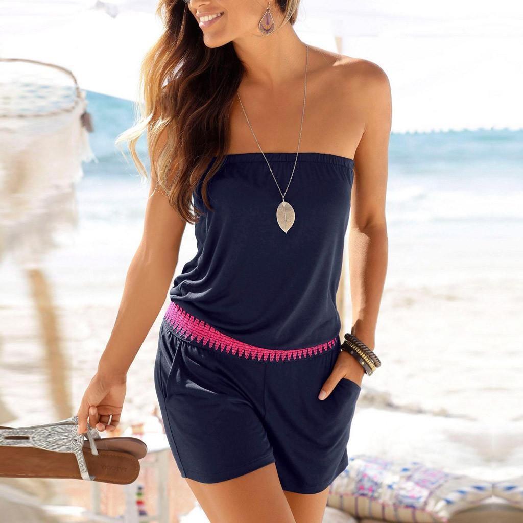 Fashion Summer Casual Womens Romper Off Shoulder Solid Tube Pocket Short Playsuit Combishort Femme Dropshipping Xb40