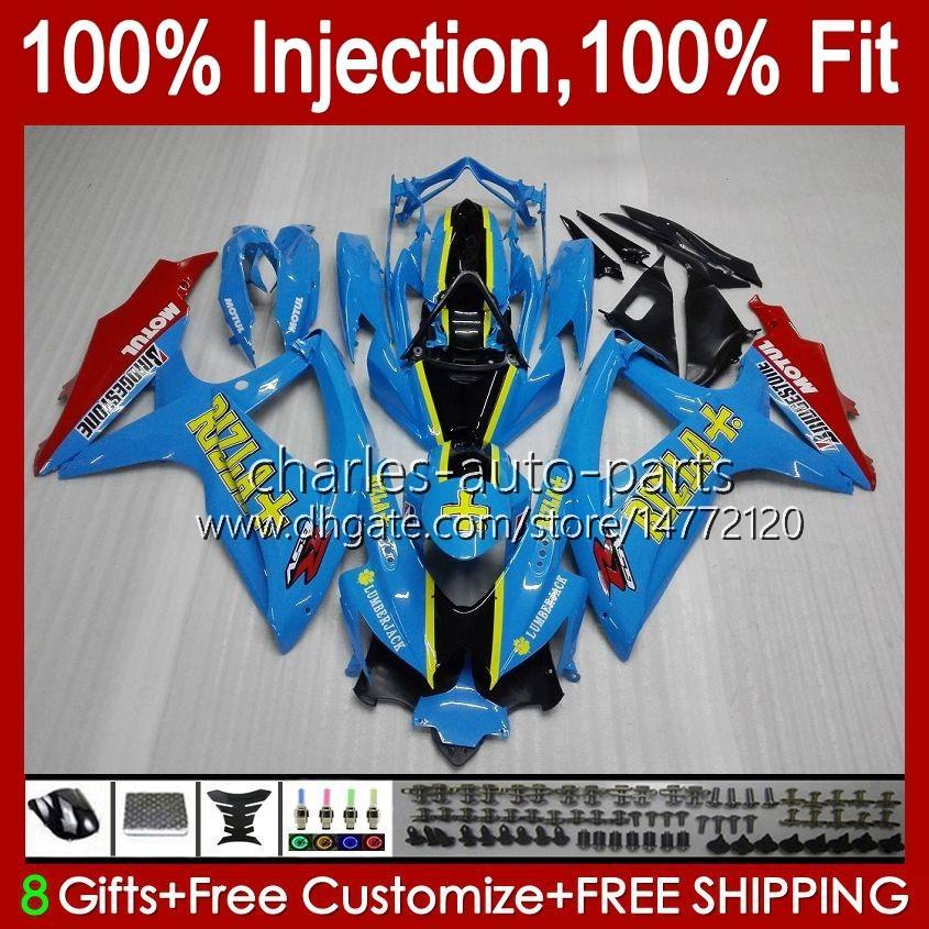 Molde de inyección para Suzuki GSXR600 K8 GSX-R750 GSXR-600 GSXR-750 GSXR750 Bodywork 9HC.49 GLOSSY CYAN NEW GSX-R600 2009 2010 GSXR 600 750 CC 600CC 750CC 08 09 10 FAIL