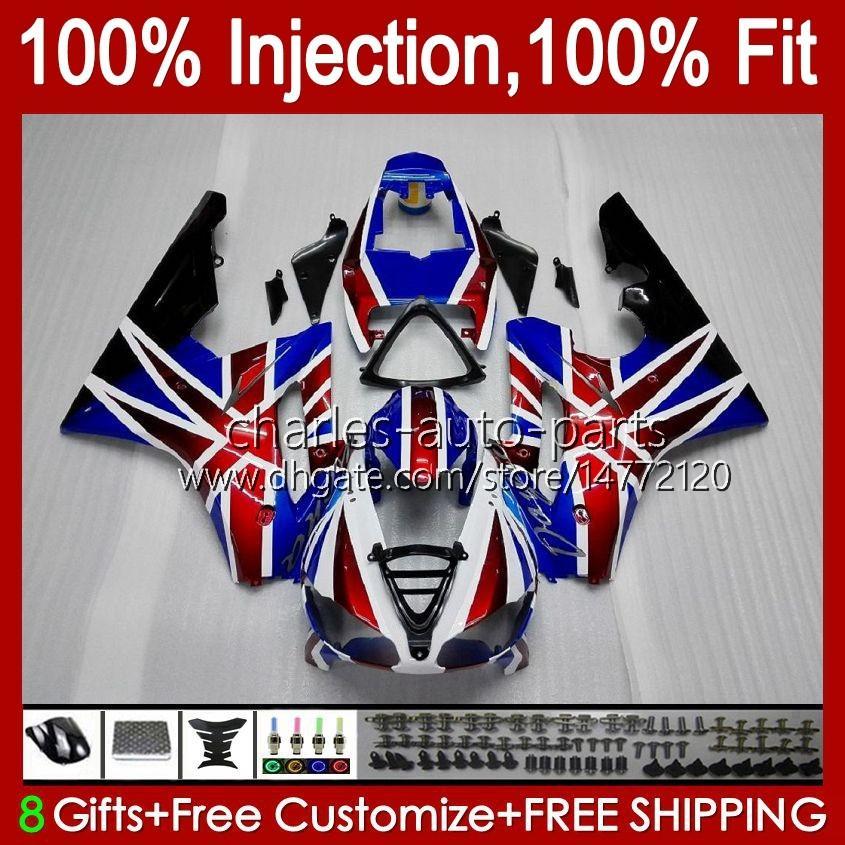 Injectie Mold Lichaam voor Triumph Daytona 675 R 675R 02 03 04 05 2006 2007 2008 Kit 106HC.5 Daytona675 Blue Red Stocktona 675 2002 2003 2004 2005 06 07 08 OEM Fairing