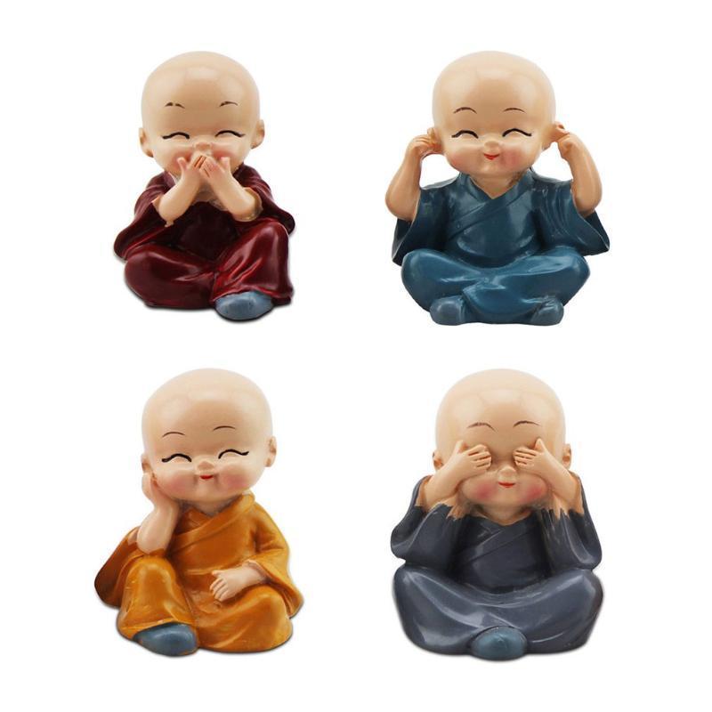 Innendekorationen 4 teile / set den kleinen monk für home figuren auto dekor kreative ornament buddha junge zubehör farbe radom