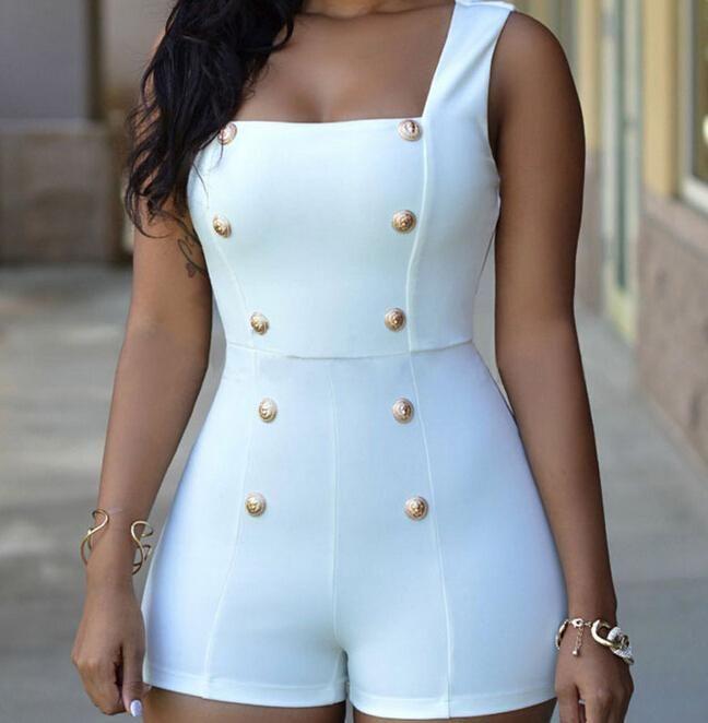 عارضة أزرار الذهب العادية السروال القصير المرأة قصيرة بذلة مثير أكمام zip قطعة واحدة داخلية بيضاء داخلية سوداء S-XL المرأة حللا
