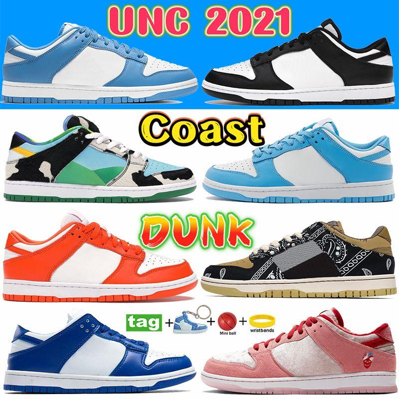 Coast Dunk UNC 2021 أحذية عارضة أبيض أسود مكتنزة دانكي صبار شادو الرجال النساء أحذية رياضية كنتاكي SP SYRACUSE شيكاغو البحرية الفيل المدربين