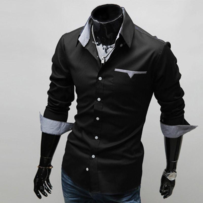 가을 대학 스타일 간단한 단색 컬러 셔츠 남성 해군 캐주얼 슬림 긴팔 드레스 일반 2021 Y1 남자