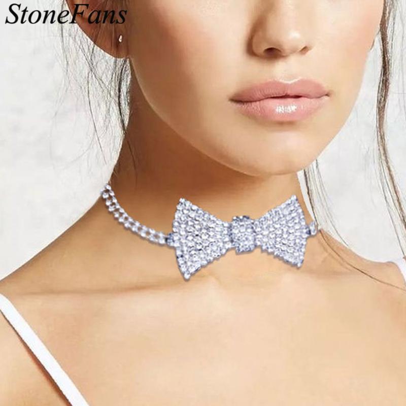 Stonefans Klassische Kristall Fliege Halskette Choker Kragen Kette Mode Dame Euro aus Rhinestone Tennis Großhandel Chokers