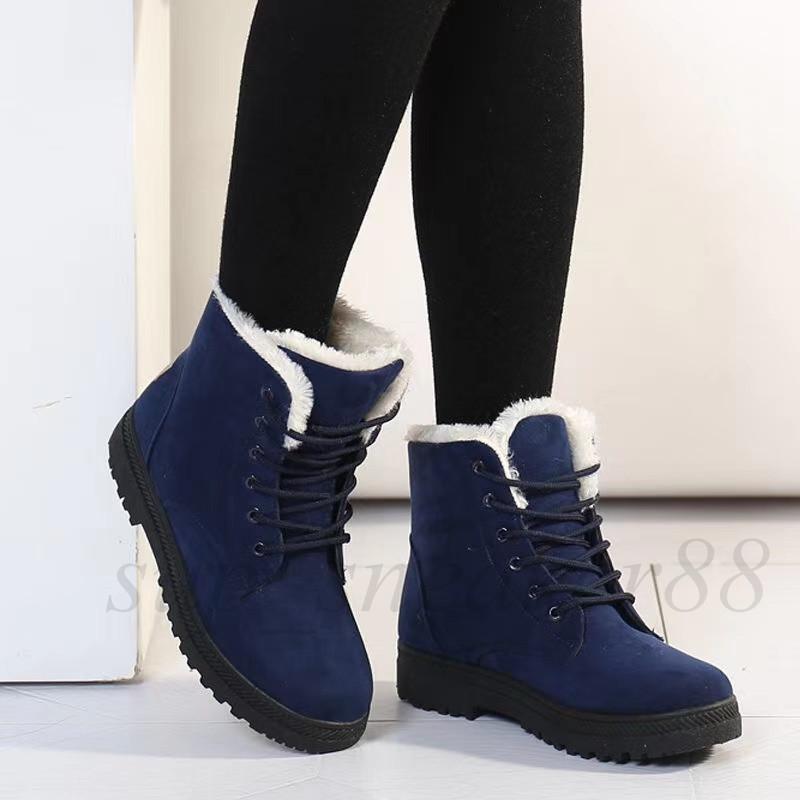 2021 S Botas de tobillo de invierno para mujeres Zapatos de inviernos Botas de nieve femenina Botas de Botas MUJER CALIENTE 35-44